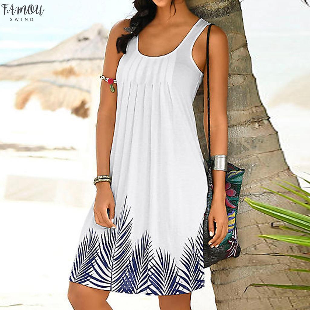 Abito senza maniche delle donne della stampa di modo vestito delle signore vacanze estive abiti casual bianco abiti da spiaggia vestidos verano 2020 NUOVO