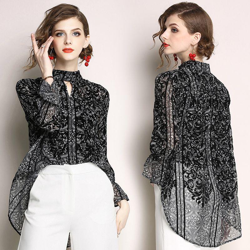 Весна Новый 2019 Женская Мода Цветочный Принт Шифон Рубашка Блузки Женщины Стенд Воротник Тонкие Блузки Рубашки Черный blusa