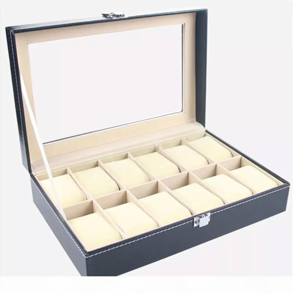 Faux Leather Watch Box Display Case Organizer 12 Slots jóias caixa de armazenamento