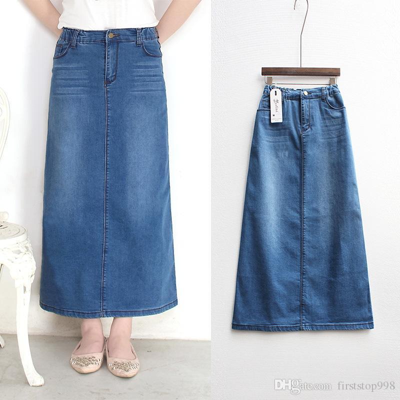 Nuevo de la manera elástico de cintura alta largo de una línea S Para 2XL más tamaño Denim Jeans primavera y verano de las mujeres del estilo de la falda