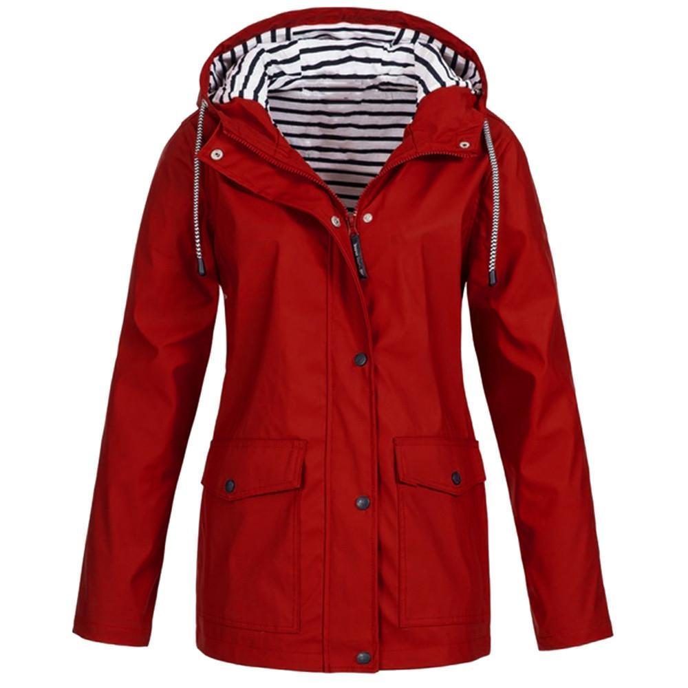 Ceketler Artı boyutu Kadınlar Katı Uzun Kollu Giyim mont Yağmur Geçirmez Kadınlar Kapüşonlu Giysiler Rüzgar Geçirmez düzenli Kapak Up chaqueta mujer