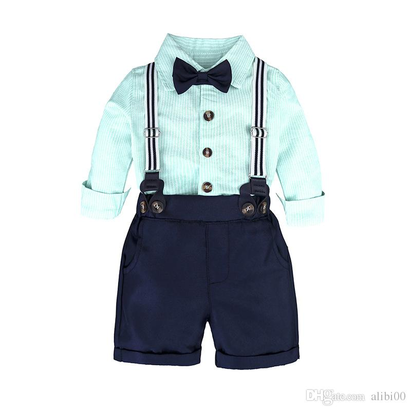 Boys gentleman college wind bib suit spring and summer striped long-sleeved shirt pants multi-color two-piece suit