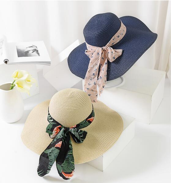 Womens Classical Sun Hat Folding Wide Brim Bow Summer Beach Paris Fashion Hat