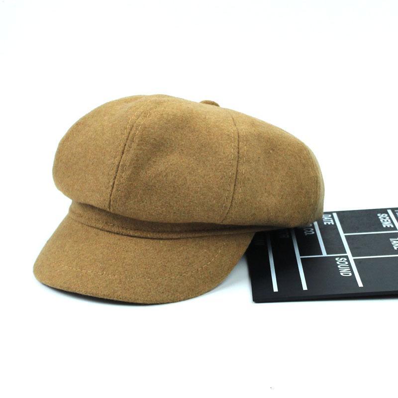 De gama alta de color sólido de lana británica octogonal caliente todo-fósforo ocasional joven pintora RAB7 sombrero