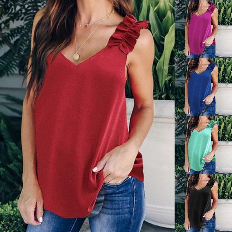 T-shirt das mulheres sem mangas ombro plissado verão esfria Sexy V-Neck Mulheres T-shirts Moda Sólidos Tops Ladies Color