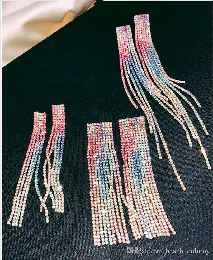 Yeni Rhinestone Kristal Renkli Uzun Püskül Kadınlar için Küpe Gelin Bırak Dangle Küpe Brincos Düğün Parti Zarif Takı Hediye