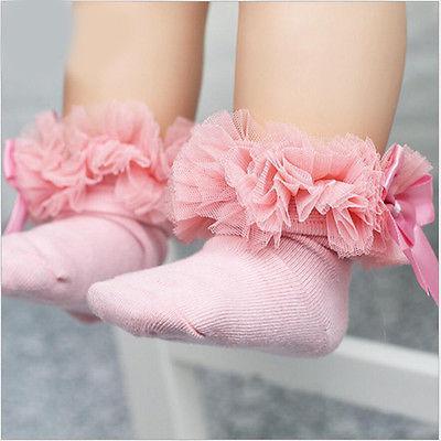 FJ QA/_ Lovely Lace Bowkont Infant Newborn Baby Girls Round Cotton Soft Bib Sali
