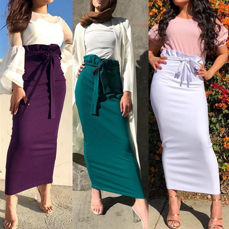 Plus Size Ruffles Saias Faldas Mujer Moda 2020 Verão Abaya Dubai muçulmana longa Maxi Saia de cintura alta Mulheres Jupe Longue Femme