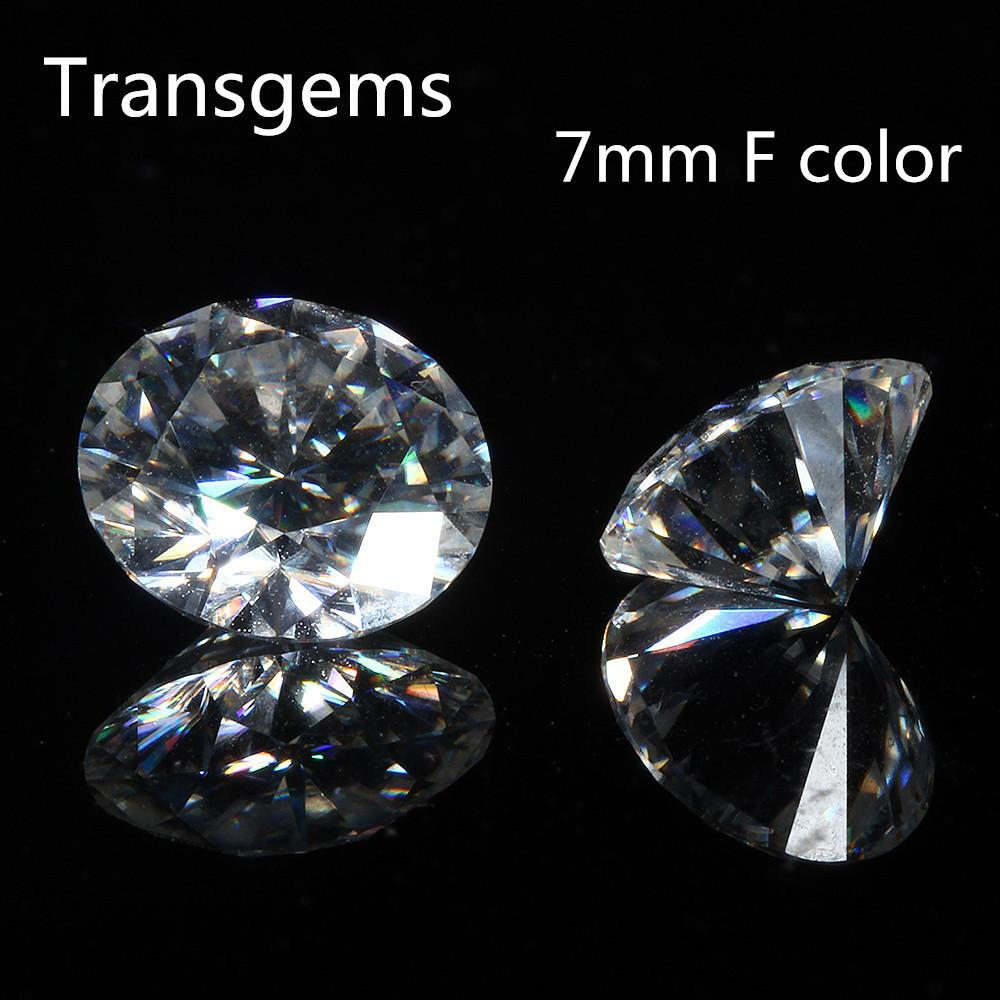 Transgems 1 Piece Brilliant 7.0mm 1.2ct F Colorless Hearts and Arrows Cut Round Moissanite Loose Stone Beads for Jewelry Making Y200620