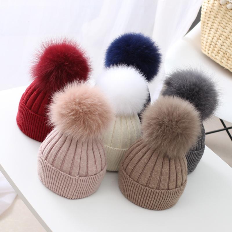 Piel de zorro real sombrero de los niños del bebé del invierno Pom Pom Hat Super Big Fur Ball Toddler Beanie Cap Baby Knit sombrero de lana J190528