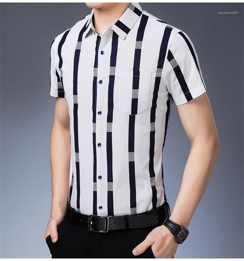 Düğme Kısa kollu Turn Down Yaka Gömlek Moda Erkek Gömlek Ekose Baskı Kontrast Renk Erkek Tasarımcı Gömlek Casual Slim