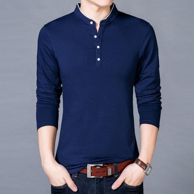 Sleeve -Shirt Hommes Spring Automne Nouveau Coton T-shirt T-shirt T-shirt Couleur Solide Hommes T Top Top Thees Tees Collier Vêtements Mandarin Uuvla Uuvla