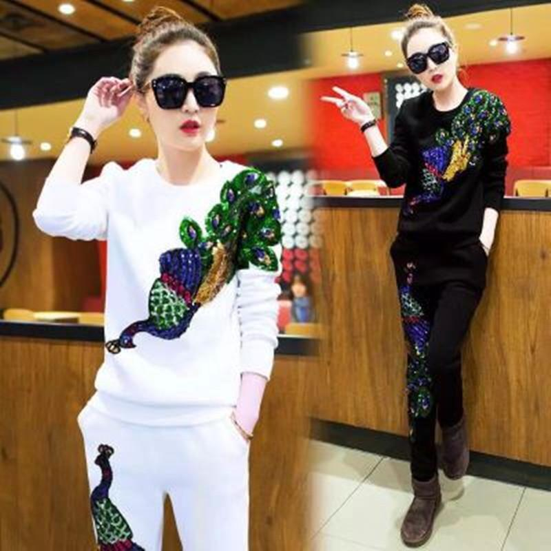 Autumn ladies tracksuits Peacock sequin stitching long Sleeve hoodies women two pieces set Woman Suit sport tracksuit 4 color M-3XL