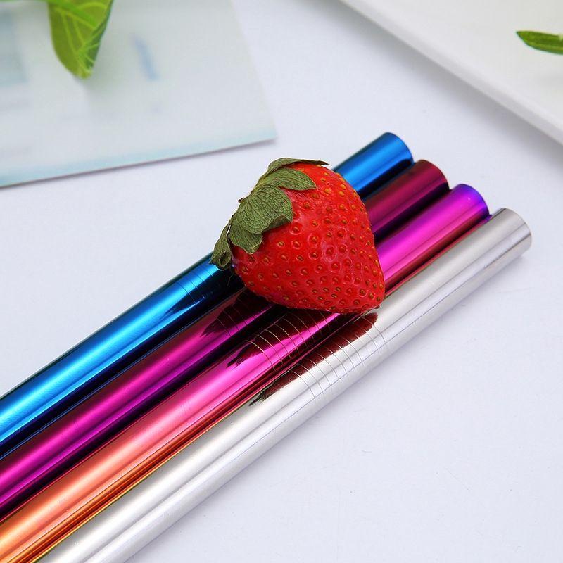 Kullanımlık 304 Paslanmaz Çelik Hasır Metal Starw İçme Düz Çörek Fırça Çantası ile Silikon Kapak