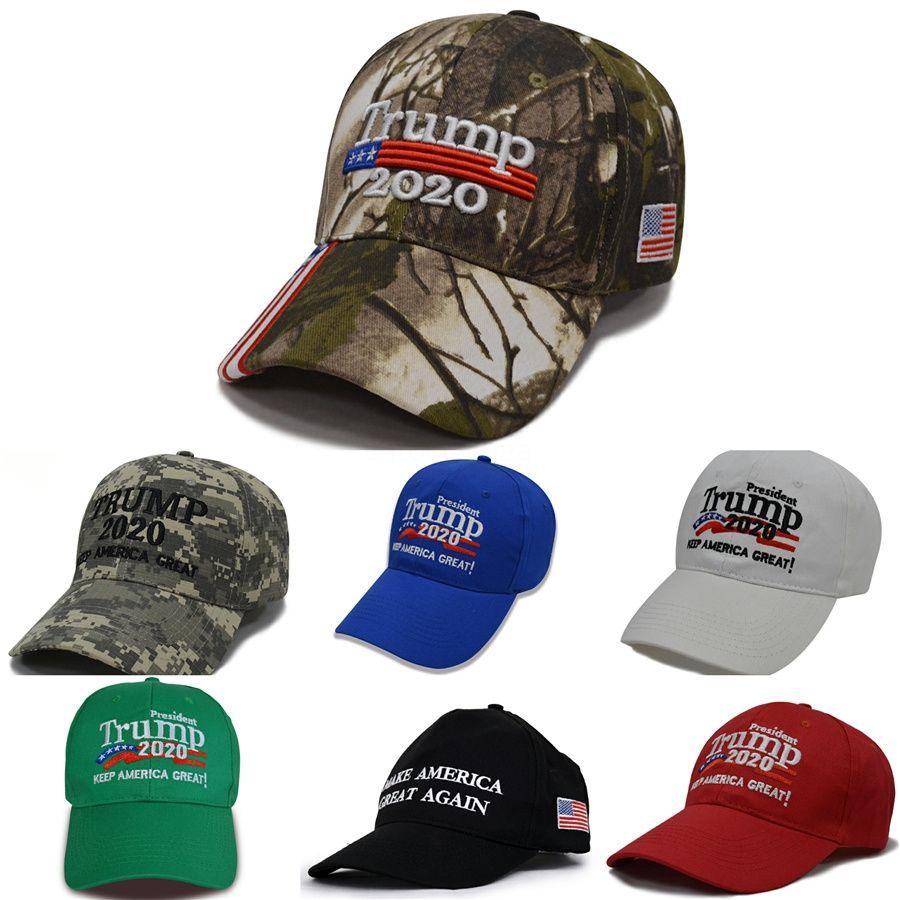 Kamuflaj Donald Trump Şapka Usa Bayrak Beyzbol Cap tutun Amerika Büyük 2020 Şapka 3D Nakış Ayarlanabilir Snapback Zza1720-3 # 882