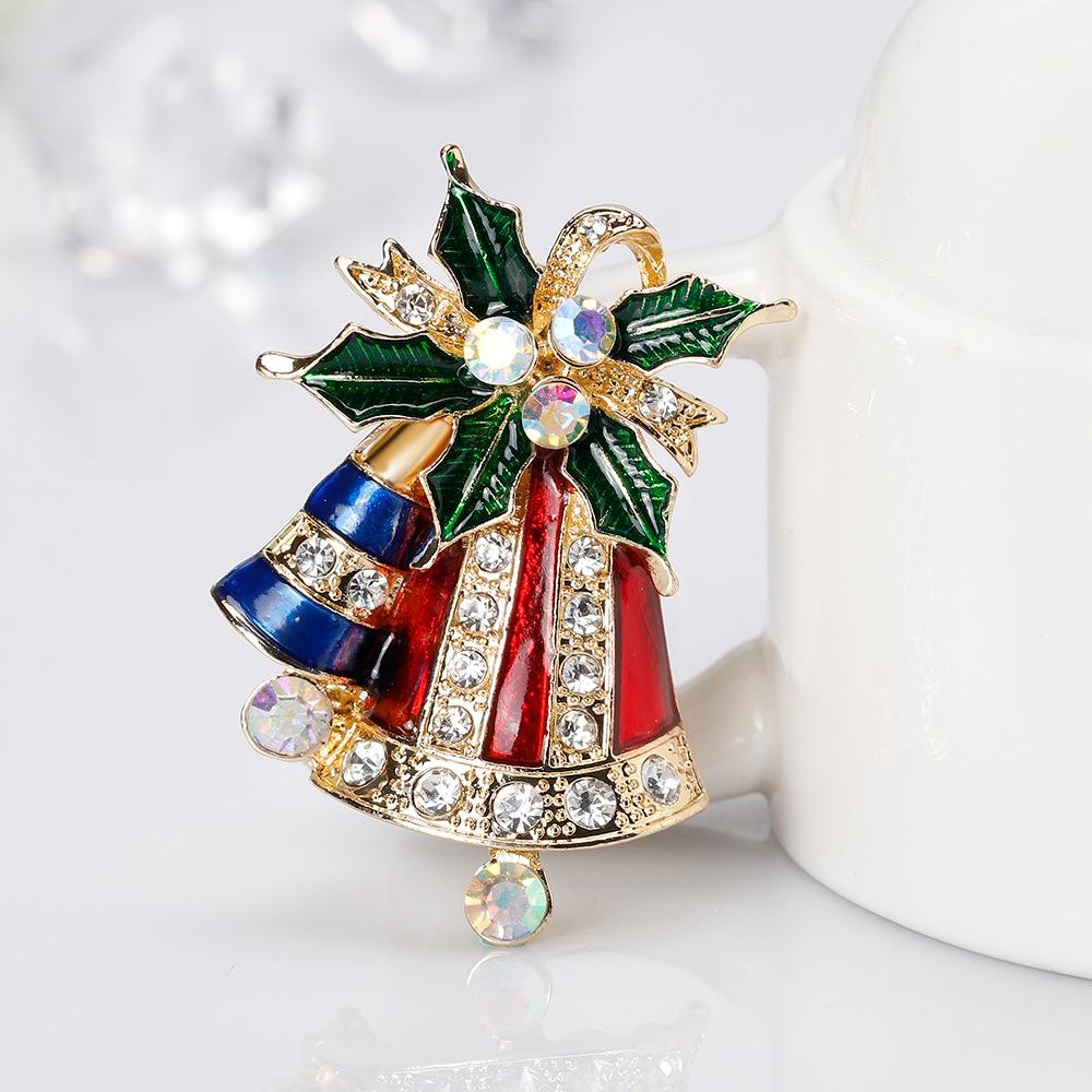 9fc4eadce8b5d 2018 2019 Fashion Christmas Bell Brooch Pin For Clothes Cute Enamel Pins  And Brooches For Women Hot Sell Rhinestone Brooches Badge For Party From ...