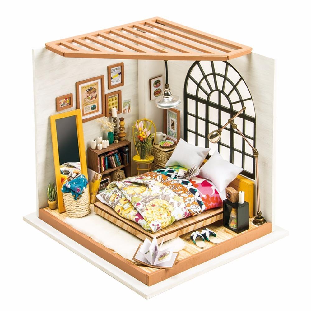 Großhandel DIY Puppenhaus DG107 Alice Dreamy Schlafzimmer Kinder Erwachsene Miniatur Hölzernes Puppenhaus Modellbau Kits Spielzeug