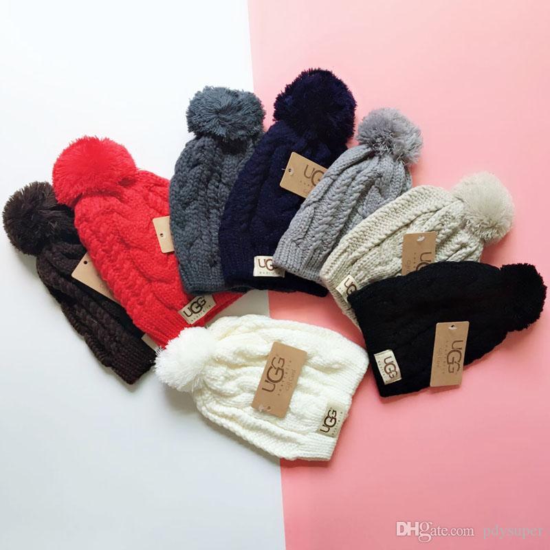 Unisex Otoño Invierno hombre Moda Gorro de lana Hip Hop informal al aire libre caliente del casquillo de la bola de la felpa del sombrero femenino