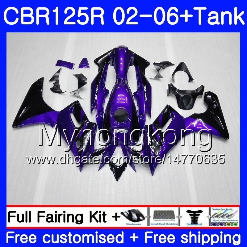 Körper + Behälter lila schwarzes heißes Für HONDA CBR-125R 125CC CBR125RR CBR125R 02 03 04 05 06 272HM.7 CBR 125R 125R 2002 2003 2004 2005 2006 Verkleidung