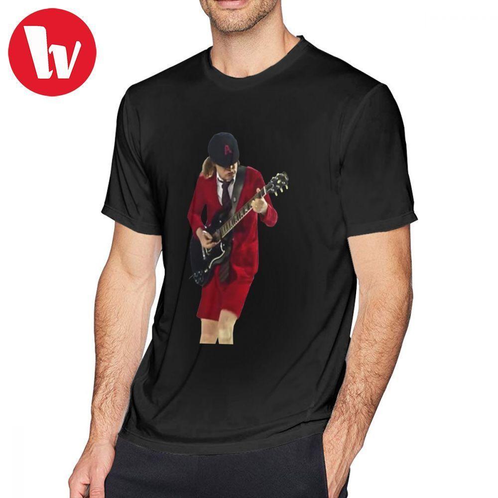 Ac Dc T Shirt Angus Young 2 تي شيرت قطن كم قصير تي شيرت 6xl مطبوعة تي شيرت رائع رجالي الأساسي