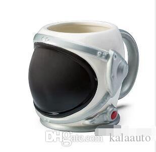 2019 우주 비행사 도자기 머그잔 우주 비행사 헬멧 컵 커피 컵 크리 에이 티브 세라믹 커피 머그잔 실버 실버 블랙 20oz