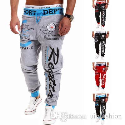 Erkek Moda Spor Uzun Pantolon Rahat Spor Spor Elastik Pamuk Pantolon Sweatpants Koşu Pantolon Slacks