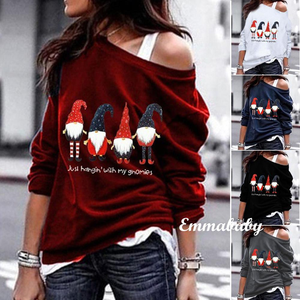 2020 Womens Long Sleeve Sweatshirt Merry Christmas Pullover Tops Oblique Shoulder Ladies Printed Fashion Top Sweatshirts Clothing From Wanghongmei8888 8 62 Dhgate Com