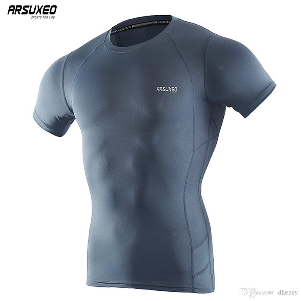 Toptan Erkekler Gym Spor Kısa Kollu T Gömlek Baz Katman Crossfit Tee Sıkıştırma Koşu Gömlek Spor Giyim Egzersiz Spor Tshirt