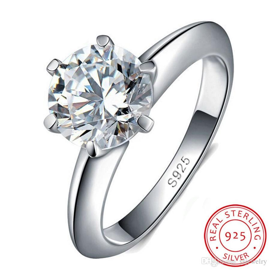 100% Original Solid 925 Silver Rings Natural 1.5ct Solitaire Cubic Zirconia Jewelry Wedding Rings For Women Wholesale R121