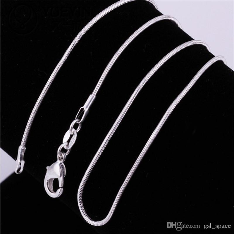 925 ayar gümüş Yılan Zincir Kaplama Kolye Bildirimi Takı Kadınlar gümüş takı chokers moda aksesuarları