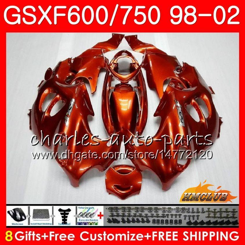 Body For SUZUKI glossy orange KATANA GSX600F GSXF750 1998 1999 2000 2001 2002 2HC.AA GSXF 750 600 GSX750F GSXF600 98 99 00 01 02 Fairing kit