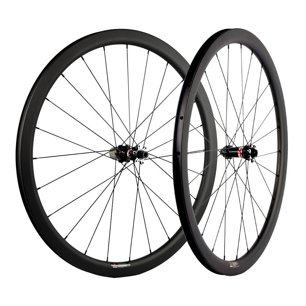 38MM العمق الفاصلة / لايحتاج / أنبوبي قرص الفرامل الكربون العجلات 700C العرض 25mm الكربون عجلات الدراجة الطريق UD ماتي سباق العجلات Novatec محور