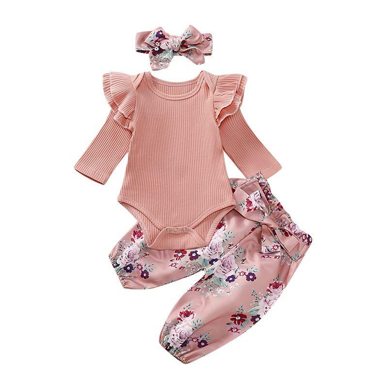 Nouveau-né Bébé Romper Set Infant Girls solide en tricot dentelle à manches longues Romper enfants Vêtements décontractés Ensemble Bow-Tie Petit Pantalon floral avec serre-tête