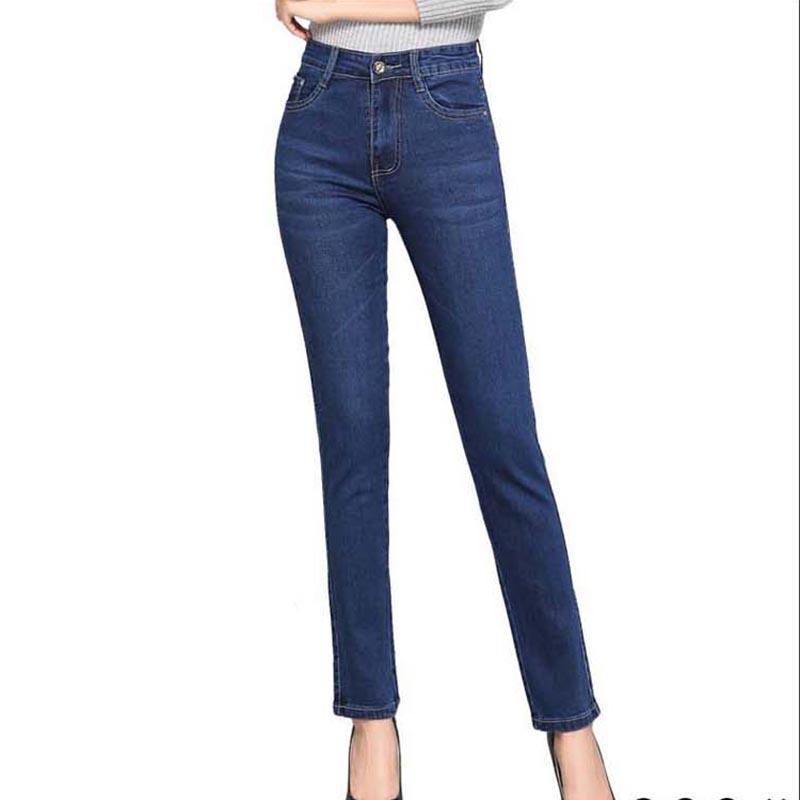 Женские джинсы женские джинсовые голубые брюки женские прямые классические брюки глубокие плюс размер дамы осенью 2021 Q256
