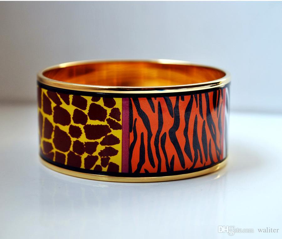 Afrique sauvage série Bracelet émail plaqué or 18 carats pour femme Top bracelets qualité bracelets largeur 30mm bijoux de mode