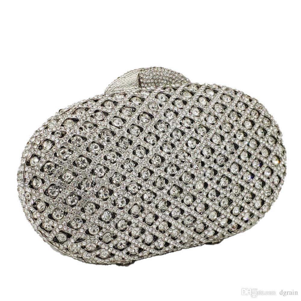Dgrain aushöhlen Silver Crystal Frauen-Abend-Clutch Bag Minaudiere Hochzeit Cocktailparty-Handtasche Frauen-Handtaschen