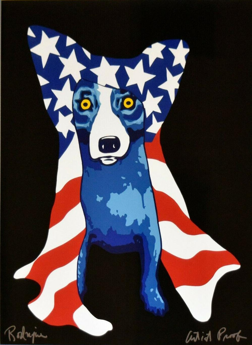 George Rodrigue Blue Dog My Security Blanket Home Decor Handpainted &HD Print Oil Painting On Canvas Wall Art Canvas Pictures 200114