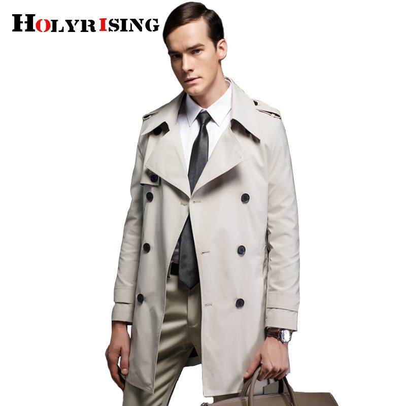 HOLYRISING Trench Coat Men Classic Double Breasted Mens Long Coat abrigo hombre Mens mantel herren men jacket and 18651-5