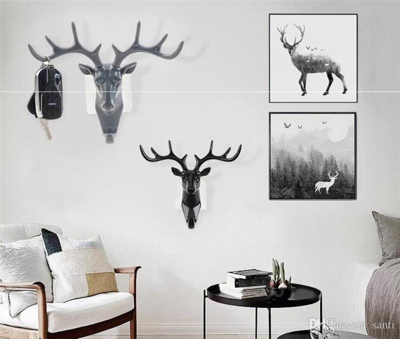 New Home autoadesivo gancho da parede Deer Head gancho para pendurar roupas Hat Scarf Key cervos chifres cabide rack de parede Decoração