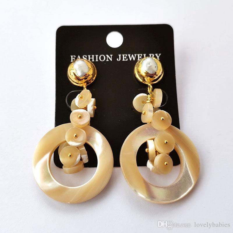 Natürliche beige Schale Ohrringe Handgemachte wulstige Shell runden Ohrring für Mode weibliche Frauen Schmuck ER1101