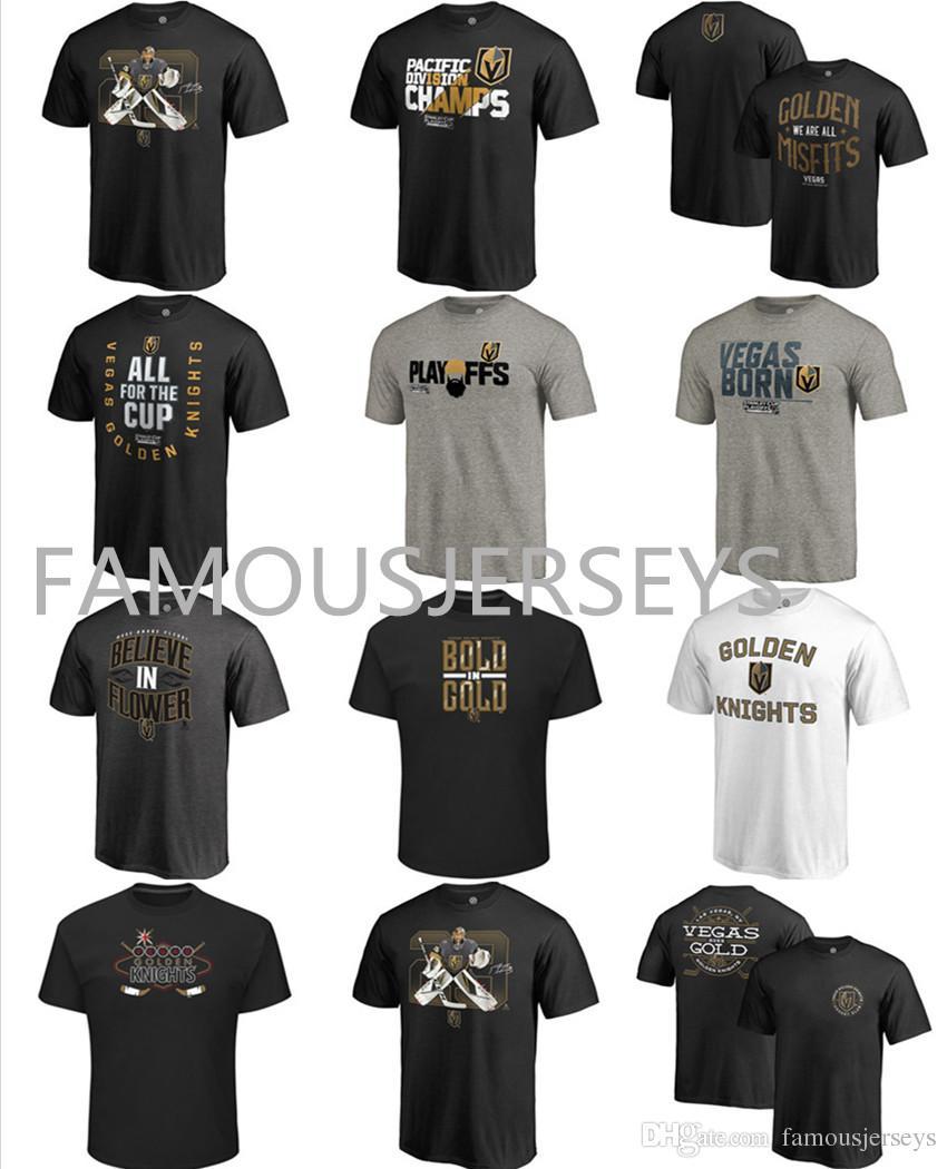 Las Vegas Cavaleiros de Ouro cartas de Hóquei T-shirt Fãs Tops Tees Quente-impresso CONTRA O MUNDO clássico CHAMPS mens Playoffs desgaste de esportes Acredite Flor