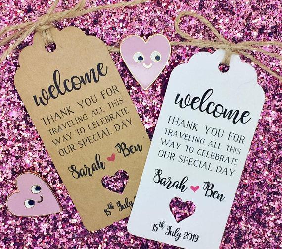 destinazione personalizzata matrimonio benvenuto grazie KIT HANGOVER Tag regalo Bottiglia di vino Etichette per ospiti Carte di prenotazione compleanno