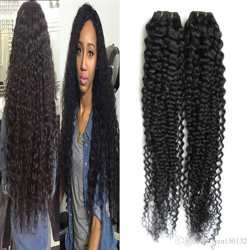 Malaysian Kinky Curly Hair Extensions Human Hair Weaving Bundles Natural Color 1/2Piece Non-Remy Curly Hair Bundles
