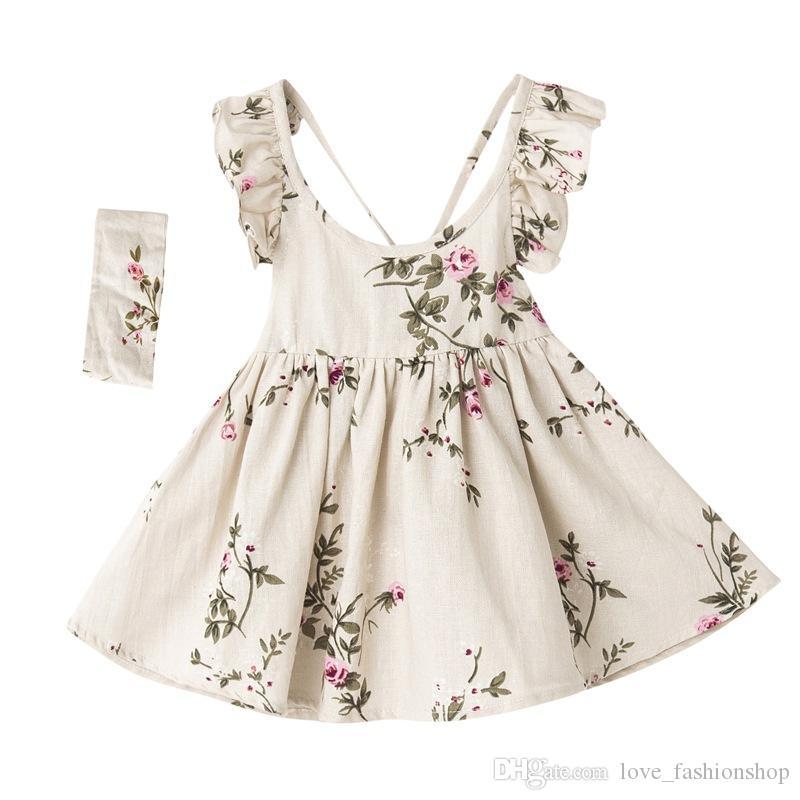 小売キッズデザイナーガールズドレス亜バンドと亜麻の花のドレス夏の桃の花浮腫の背中のないサスペンダーベストプリンセスドレス