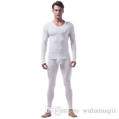Ice Silk Long Men Thermal Underwear Set Lightweight Thin Mens Pouch Legging Thermo Pyjamas Suit Spandex Breathable Solid