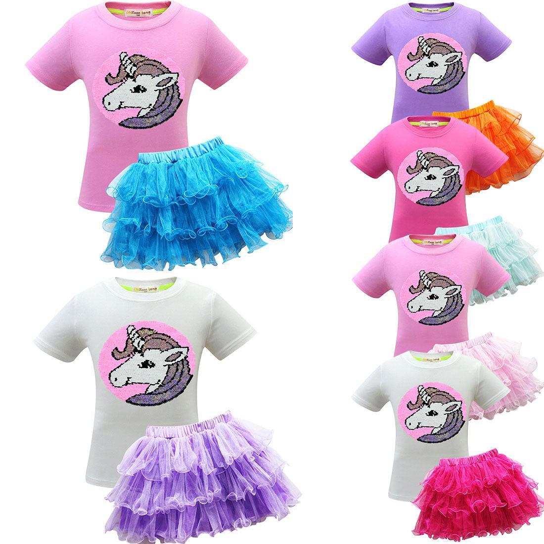Gonna a pieghe Kids Designer di lusso vestiti ragazze Kids Designer del vestito dalle ragazze tutù di tulle bambini principessa gonne abiti per bambini 2 pezzi set