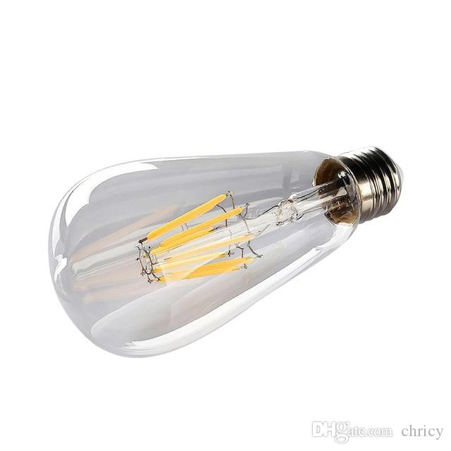 E27 ST64 LED 에디슨 전구 빈티지 LED 필라멘트 전구 레트로 조명 2W 4W 6W 8W 따뜻한 쿨 화이트 AC110-240V