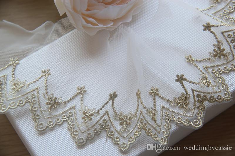 Sale by Yard gold French bridal veil embroidery Lace Fabric Trim Wedding dress Eyelashes Lace Sewing Accessories LS23