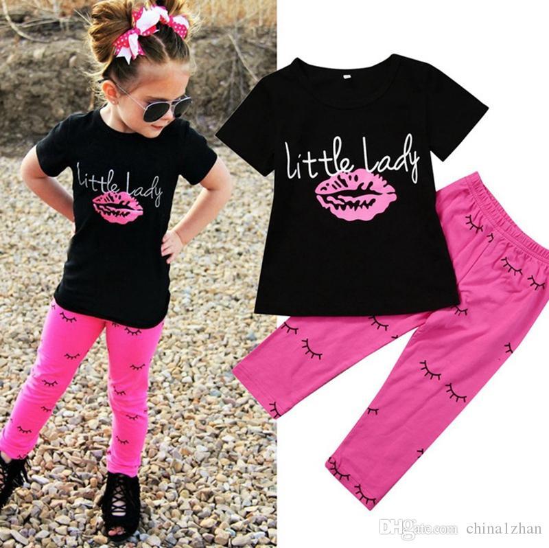 Ребёнки Нижнее Lips Ресницы печати Рубашка Брюки 2PCS Комплекты с коротким рукавом девочка Одежда Set Summer Детская одежда 2 цвета DHW2144