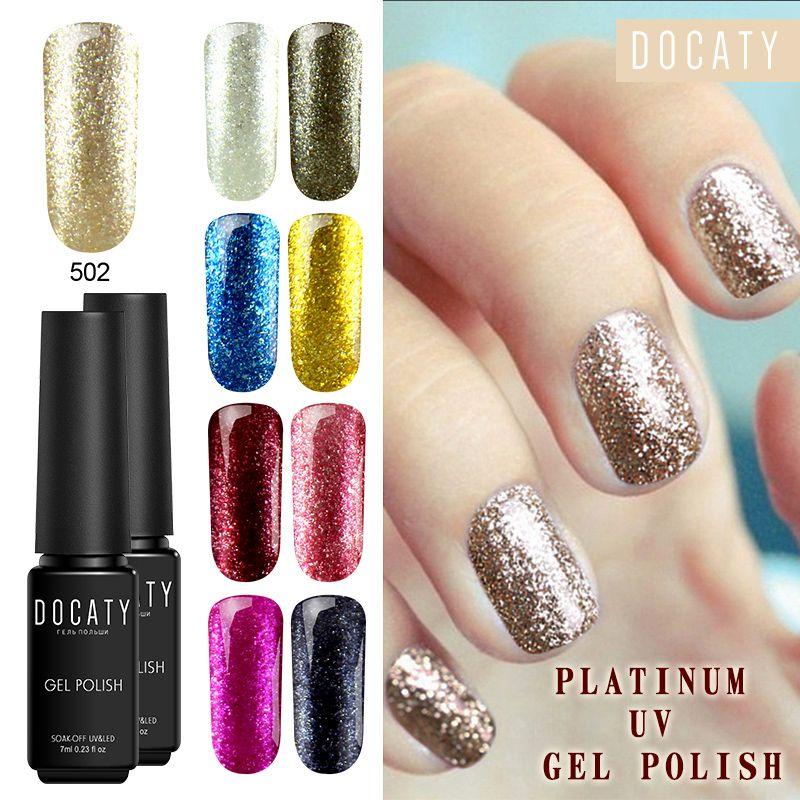 Docaty Platinum Color Gel Nagellacke Semi Permanent Nail Art Glitter Lack Long Lasting Soak Off UV Gel Polish Primer